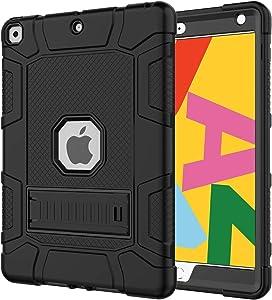 Azzsy iPad 7th Generation Case,iPad 10.2 2019 Case, Slim Heavy Duty Shockproof Rugged High Impact Protective Case for iPad 7th Generation 10.2 inch 2019 Release,Black