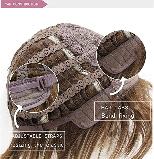 partie m/édiane naturelle avec perruque de cheveux fris/ée color/ée air bang Perruques synth/étiques ondul/ées brun fonc/é pour les femmes utilisation quotidienne de cosplay de f/ête