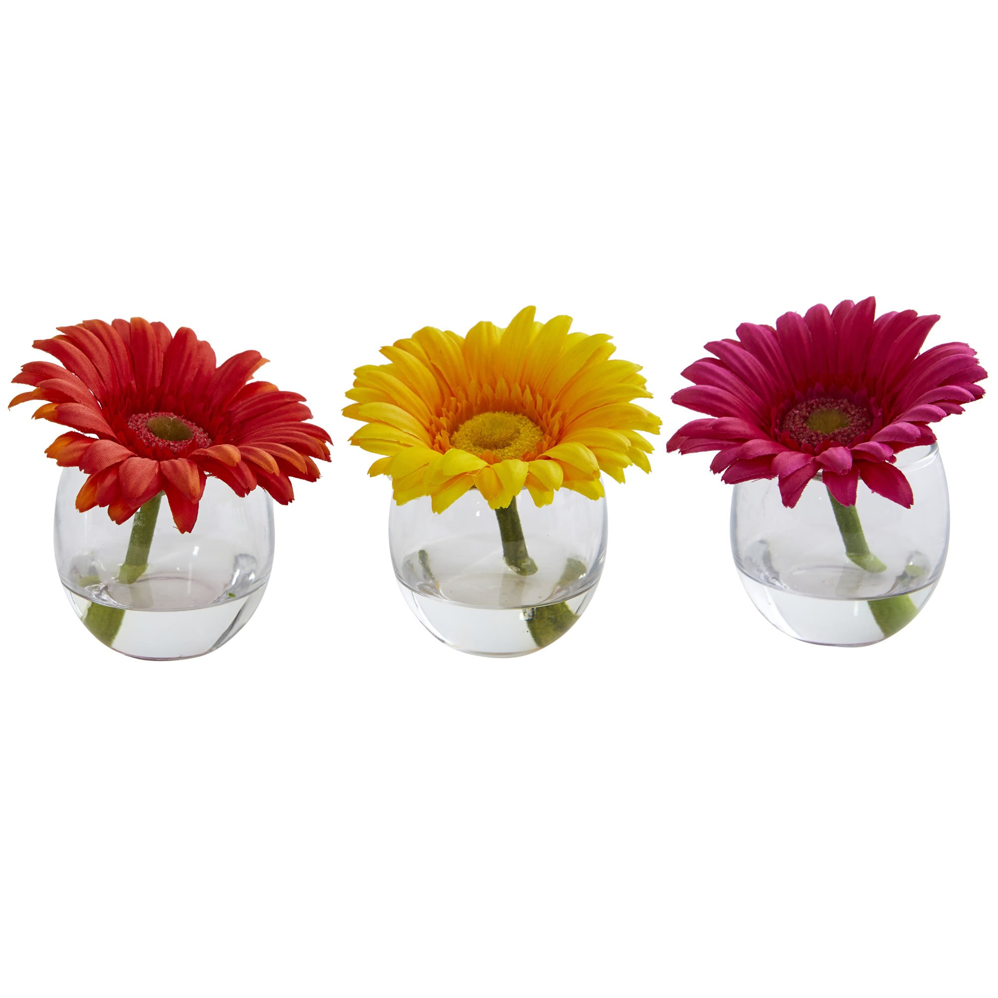 Nearly Natural Gerbera Daisy Artificial Arrangement in Glass Vase, Set of 3, Multi/Color, 3 Piece