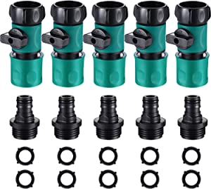 10 Piece 3/4 Inch Plastic Garden Hose Connect with Shutoff Valve Male and Female Connectors for Water Hose Coupling, Quick Release Kit Hose Fittings Adapters with 10 Pieces Rubber Gaskets