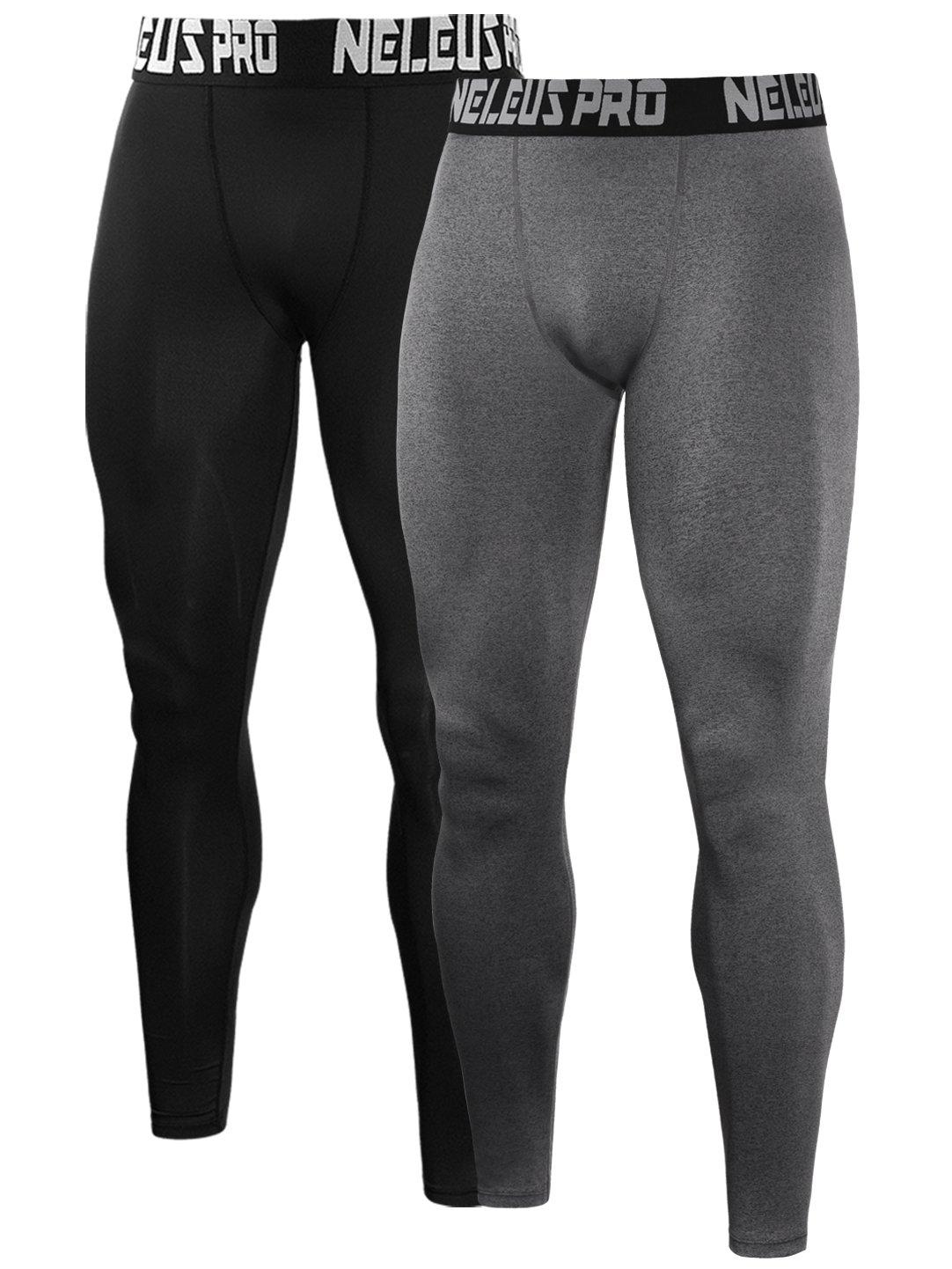 Neleus Men's 2 Pack Compression Tights Sport Running Leggings Pants,6019,Black,Grey,US S,EU M