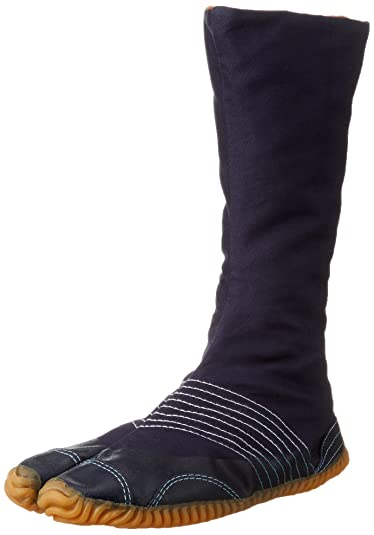 Jog Chikatabi Japanese Tabi Shoes Navy (lined winter version) with 12 Clips