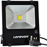 LEPOWER 50W LED Floodlight, Super Bright Outdoor Work Lights, 250W Halogen Bulbs Equivalent, IP66 Waterproof Outdoor Lights, 6500K, 4500lm (White Light)