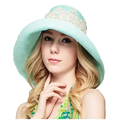 Maitose Trade  Women s Foldable Beach UV Protective Straw Hats Green ... 0c9cb6e79ca3