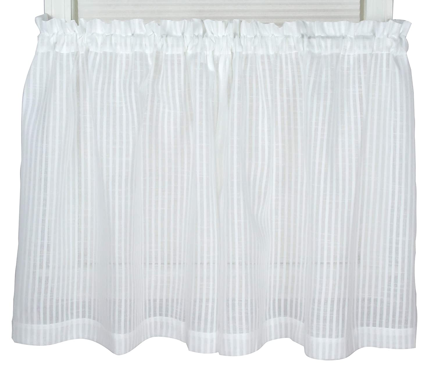 Bay Breeze Semi Sheer Stripe Tier Curtain 72