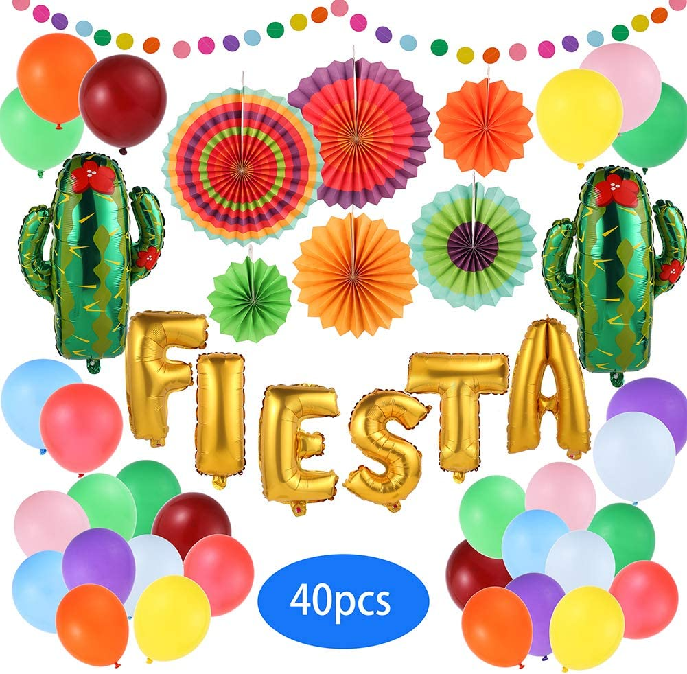 40 Pcs Fiesta Party Decoration - Mexican Taco Party supplies - Fiesta Foil Balloon