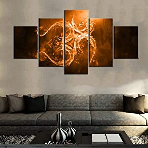 Indian Art Work for Home Walls Hinduism Om Symbol Paintings for Living Room Contemporary Pictures Aum Sanskrit Wall Art Multi Panel Prints on Canvas Framed Gallery-Wrapped Ready to Hang(60''Wx32''H)