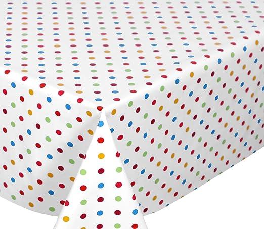 Glatt Beige BEAUTEX Mantel para Mesa de Hule Rund 100 cm dise/ño de Puntos Ovalado Liso Redondo Punkte Wei/ß Blanco Lavable tama/ño a Elegir PVC Color Beige Rectangular