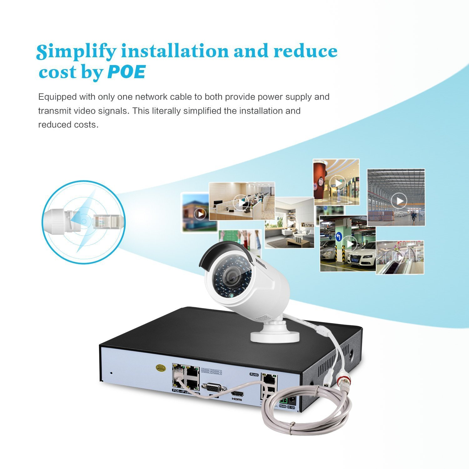 sannce 4ch 1080p poe nvr hd security camera system w 4 2 1