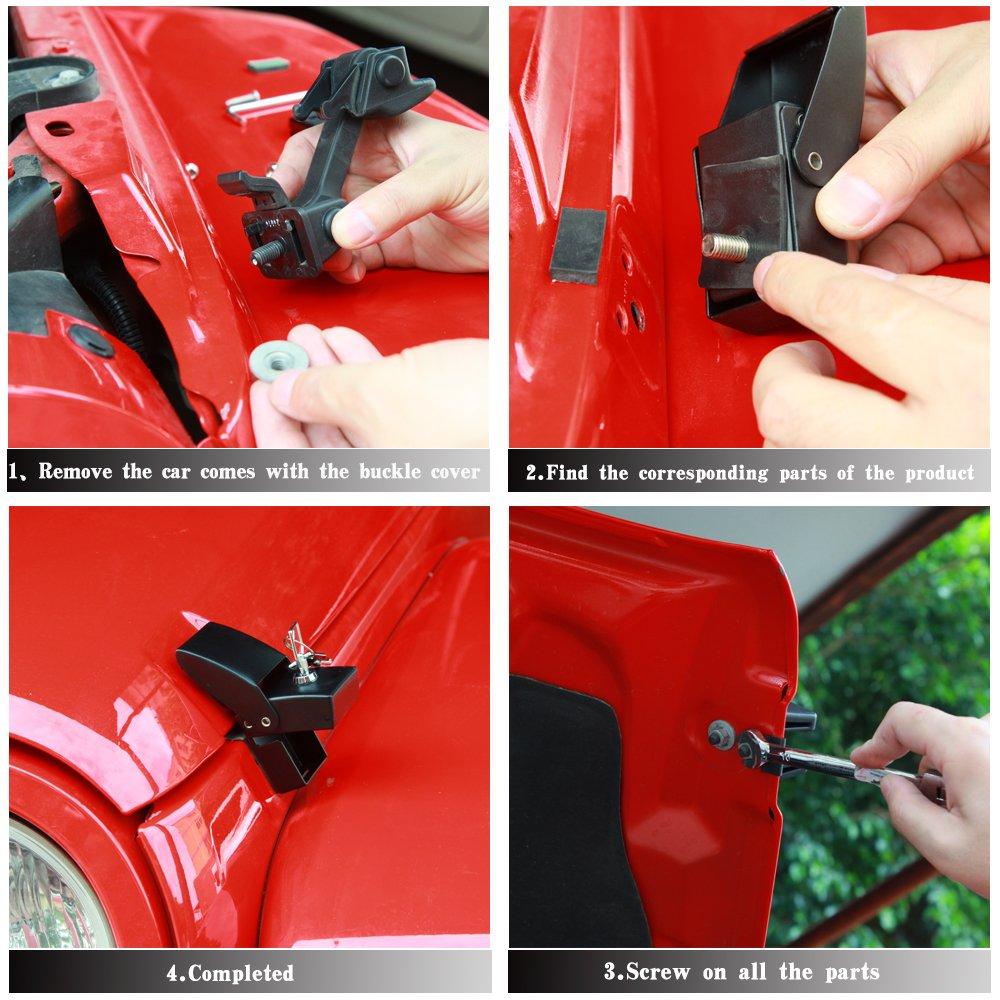 RT-TCZ Black Stainless Steel Latch Locking Hood Catch Kit 2007-2017 for Jeep Wrangler JK JKU