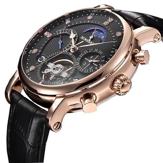 BINSSAW 2018 - Reloj mecánico para Hombre, automático, de Lujo, de Cuero, Multifuncional, de la Marca Tourbillon: Amazon.es: Relojes