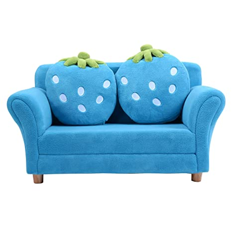 Pleasing Costzon Kids Sofa With 2 Cute Strawberry Pillows Children Couch Armrest Chair Double Seats Toddler Lounge Bed 2 In 1 Wooden Frame And Coral Fleece Creativecarmelina Interior Chair Design Creativecarmelinacom