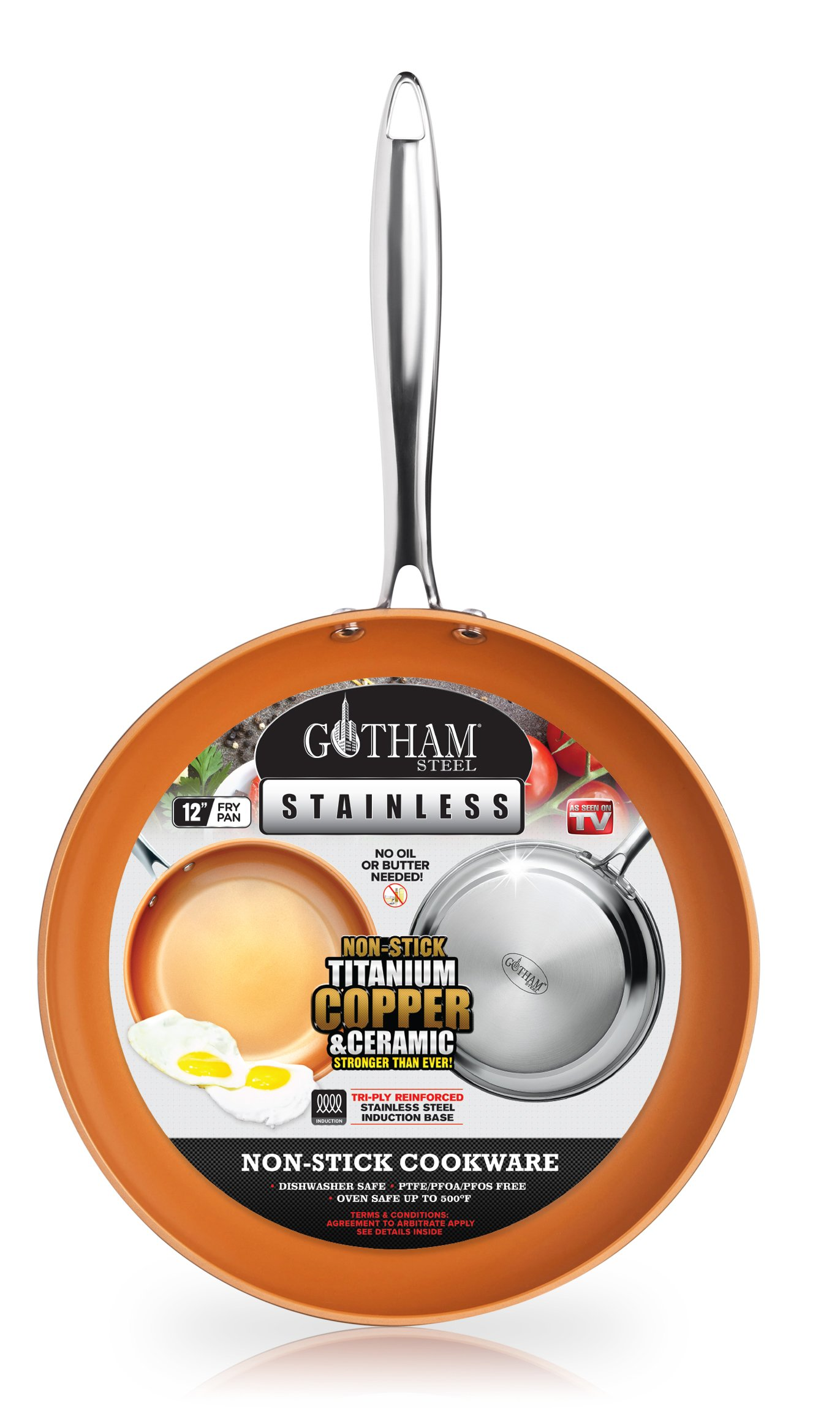 "Gotham Steel Stainless Steel Premium 12"" Frying Pan, Triple Ply Reinforced with Super Nonstick Ti- Cerama Copper Coating and Induction Capable Encapsulated Bottom – Dishwasher Safe"