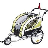 HOMCOM Remolque para Bicicleta tipo Carro con Barra de Paseo para Niños de 2 Plazas con