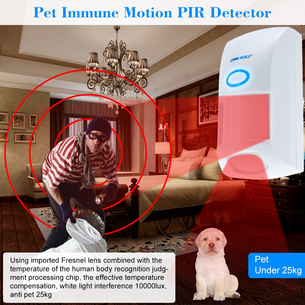 Amazon.com : OWSOO 433MHZ Wireless 25KG Pet Immune Motion PIR Sensor Infrared Detector For Alarm Security System : Camera & Photo