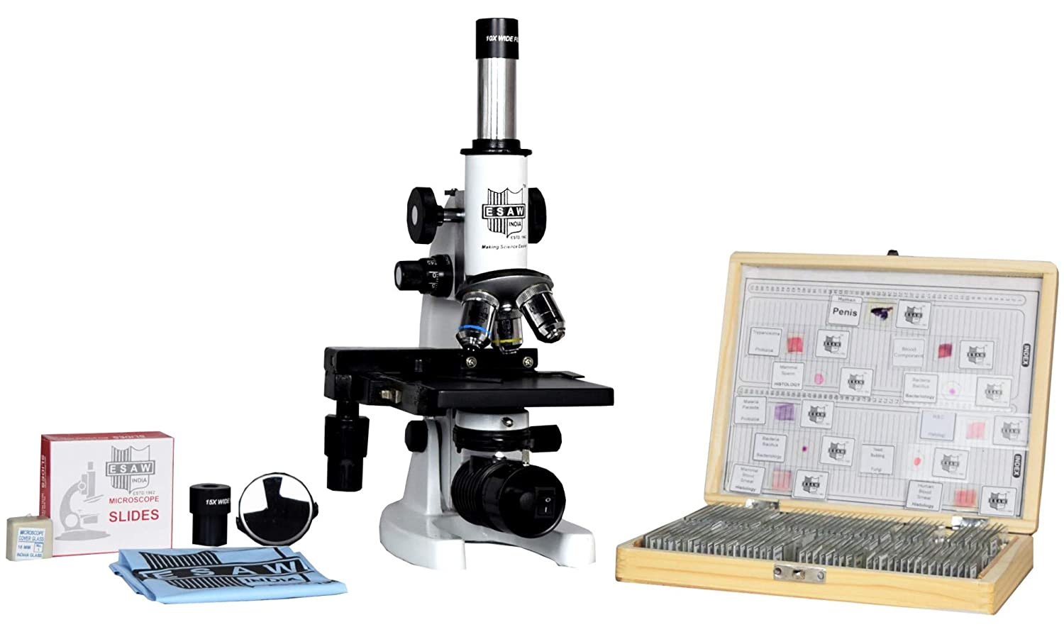 Esaw Compound Medical Microscope With 100 Prepared Microscopes Slides For Students Magnification 100x To 1500x