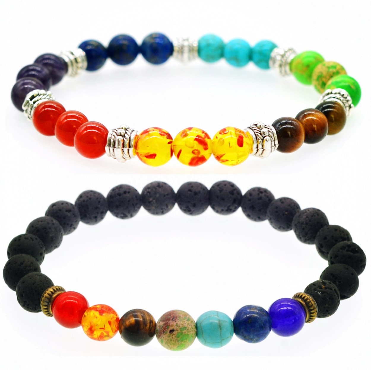 Mens Lava Chakra Beaded Bracelets Womens Healing Energy Lucky Stone Bracelets JOYA GIFT SB118488-CA