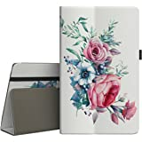 VORI Folio Case for All-New Amazon Fire HD 8 Tablet (7th Generation, 2017 Release) - Slim Fit Premium PU Leather Standing Protective Cover with Auto Wake/Sleep-Peony