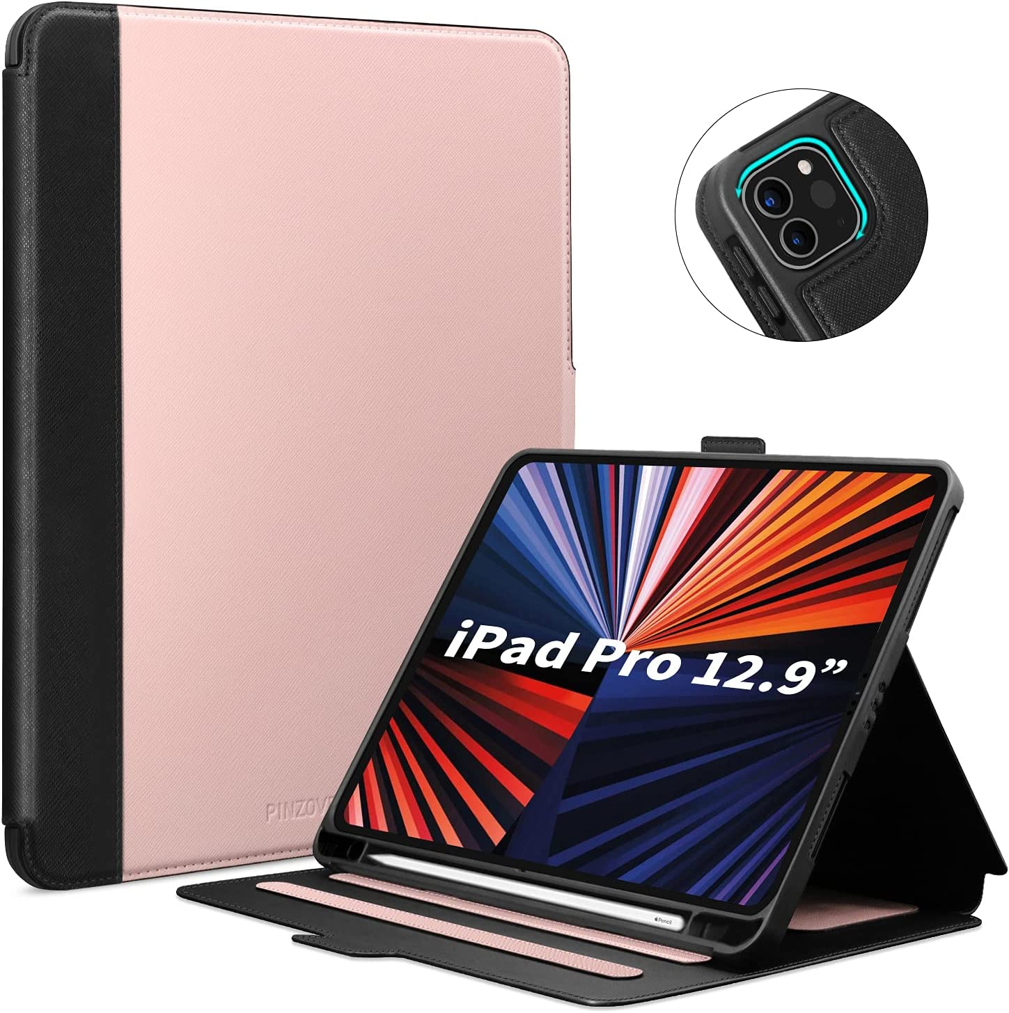 iPad Pro 12.9 case 2021, iPad Pro Case 12.9 inch with Pencil Holder, Soft TPU Back Case for iPad Pro 12.9 5th Gen/ iPad Pro 4th Gen 2020/ iPad Pro 3rd Gen 2018, Viewing Stand, Auto Wake/Sleep Cover