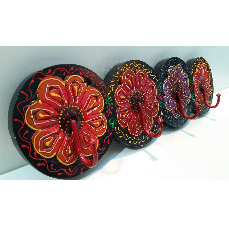 Casa Moro Marrakesch Amana - Perchero con 4 Ganchos (Pintado a Mano), diseño de Flores