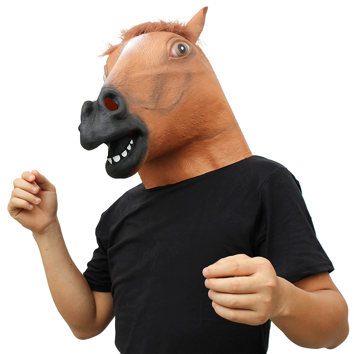 CreepyParty Novelty Halloween Costume Party Animal Head Mask Brown Horse (Silent) Seaton STMask