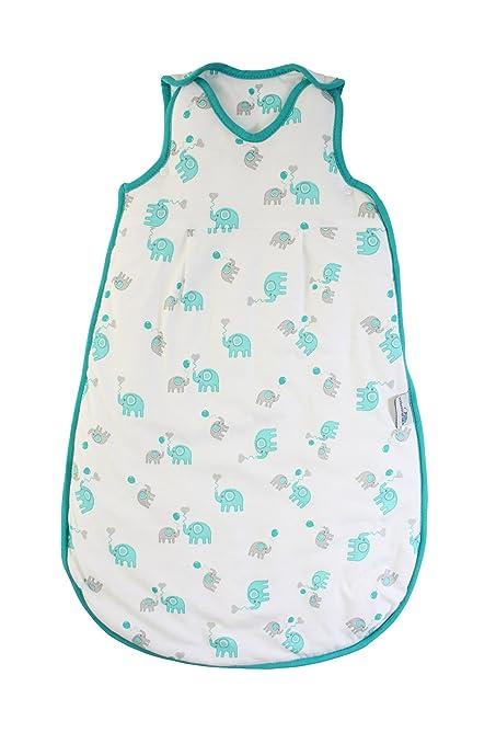 Slumbersac Saco de dormir de verano 0.5 Tog - Bamboo Muslin Blue Elephant - 0-