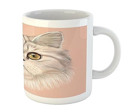 0cdbc3e77531 Ambesonne Cat Mug, Cute Kitty Portrait Whiskers Best Pet Animal I Love My  Feline Themed