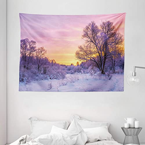 Ambesonne Forest Tapestry, Winter Landscape with Sunset and Frozen Trees Ice Weather Blizzard Cold Days Image, Wide Wall Hanging for Bedroom Living Room Dorm, 80 X 60 , Pink Lavender