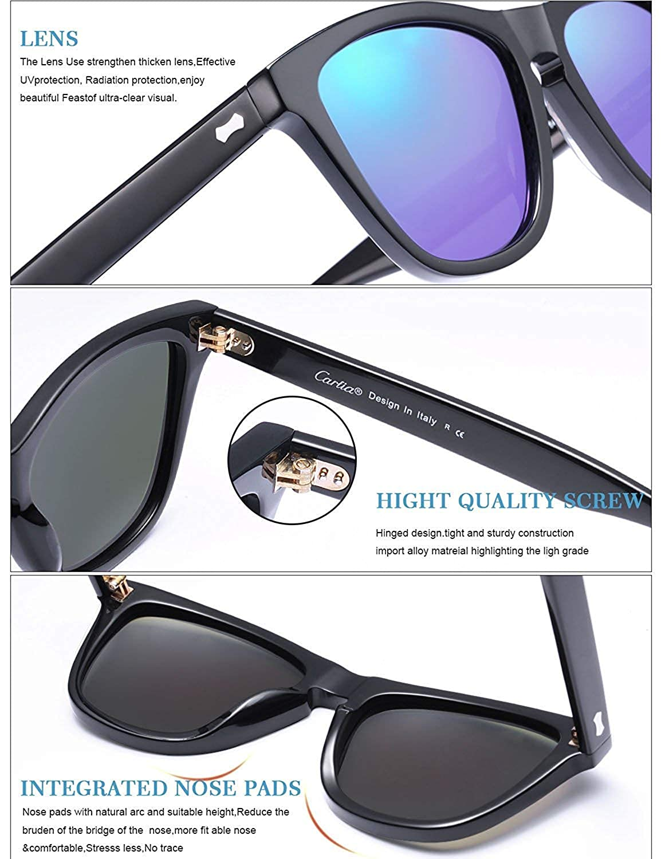 89959940b35 Carfia Polarised Mens Womens Sunglasses UV400 Protection Vintage Driving  Eyewear  Amazon.co.uk  Clothing