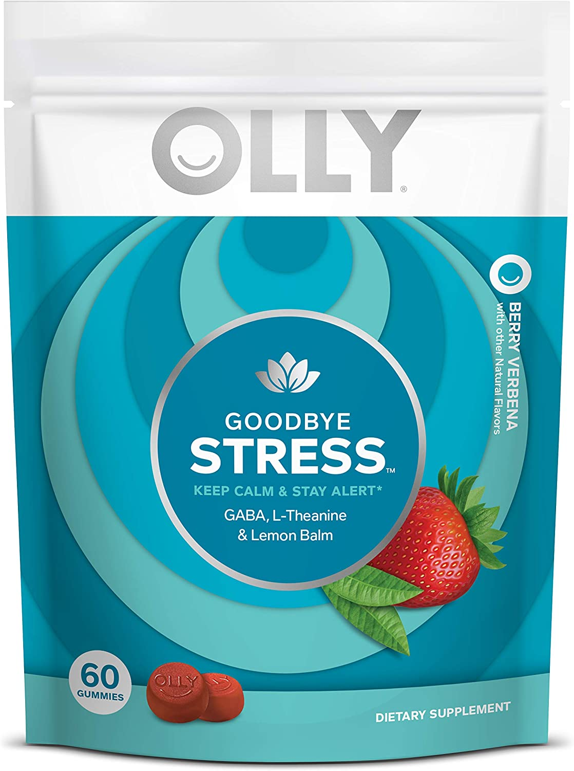 OLLY Goodbye Stress Gummy, 30 Day Supply (60 Count Gummies), Berry Verbena, GABA, L Theanine, Lemon Balm, Chewable Supplement