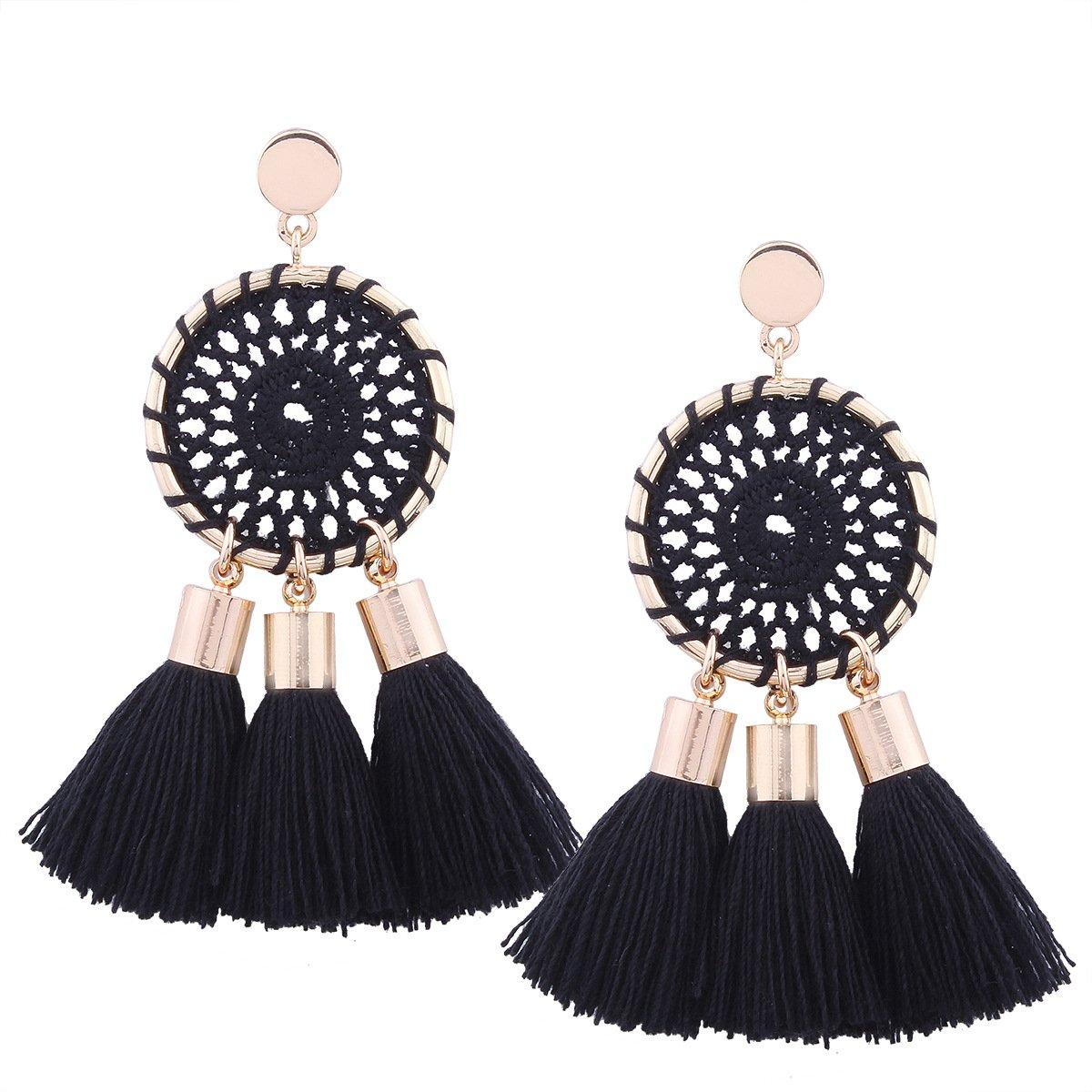 Tassel Earrings Black Long Bohemian Geometric Dangle Earrings for Women