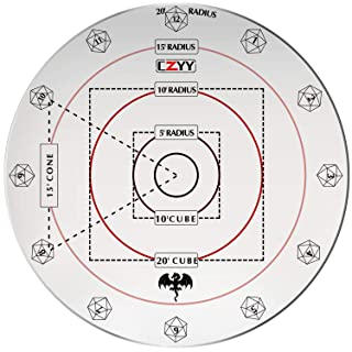 "CZYY Spell AOE Damage Marker for 1"" Grid or Hex Tabletop Game Mat Acrylic D&D Area Effect Template - RPG Gaming Accessories Perfect for Dungeons and Dragons, Pathfinder and Other TTRPGs"