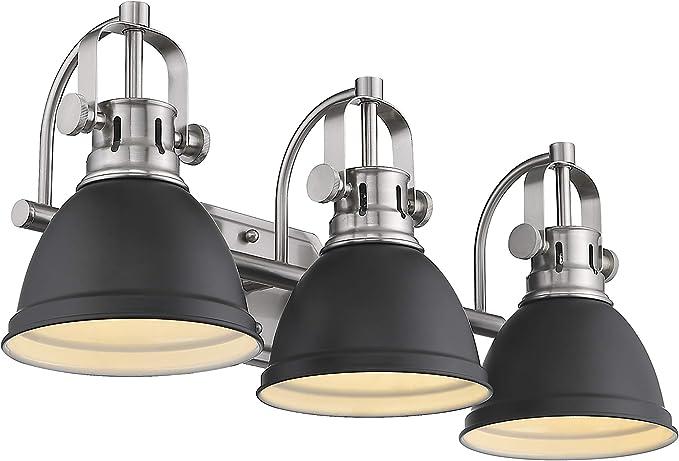 Emliviar 3 Light Bathroom Vanity Light Fixture Black Finish With Metal Shade 4054h A Amazon Com
