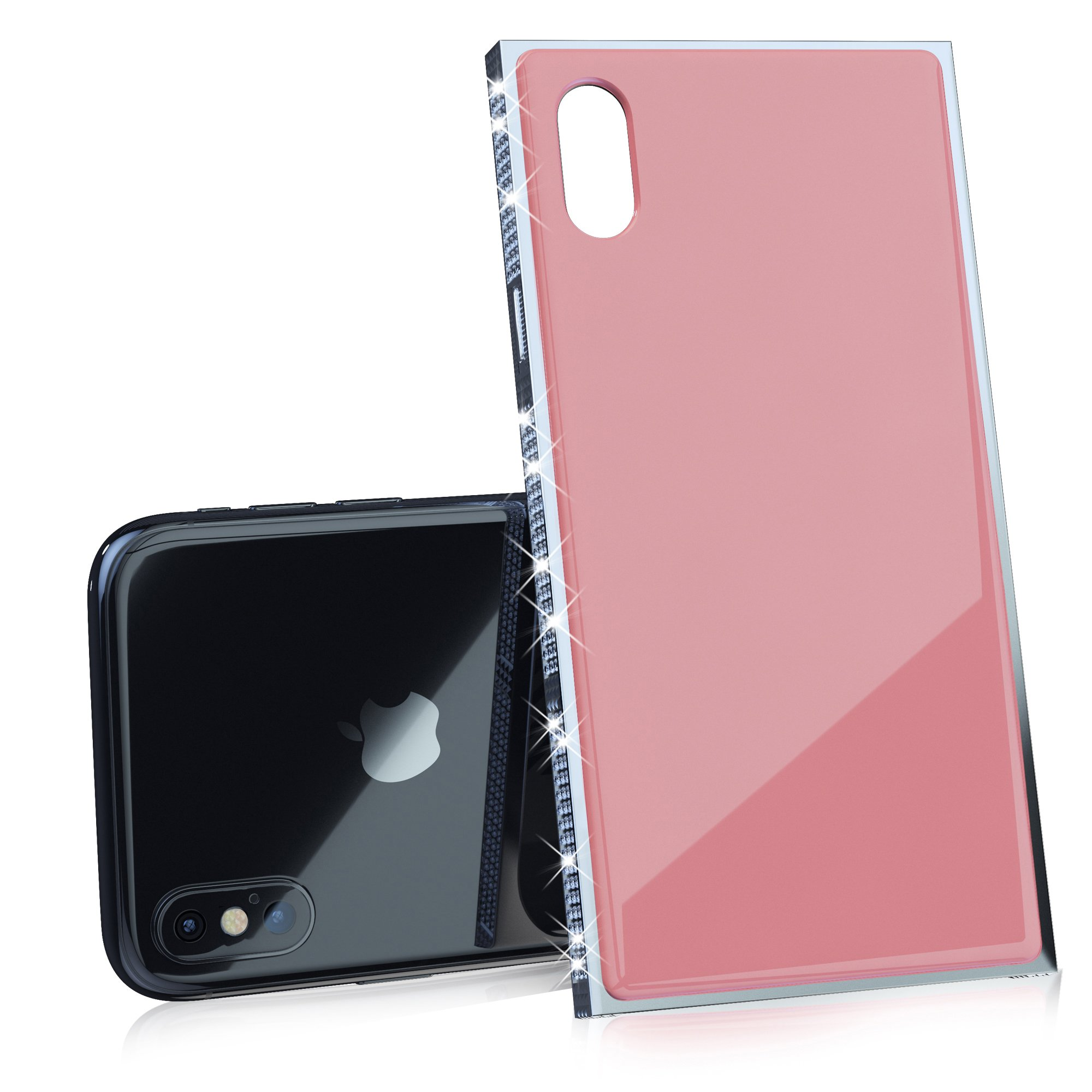 Luxury iPhone X Case with Rhinestones and 9H Tempered Glass, Drop Protection, Wireless Charging Compatible for Apple iPhone X (2017) -Pink