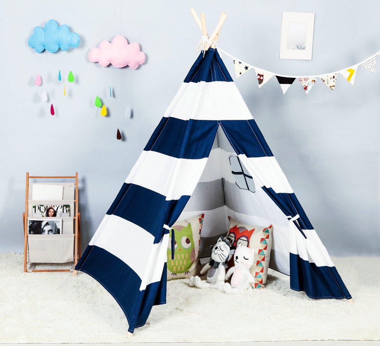 [Steegic]Steegic Foldable Cotton Canvas Indian Teepee Kid Play Tent for Children PlayhouseBlue and White Stripe [並行輸入品] B01M5H2RQF