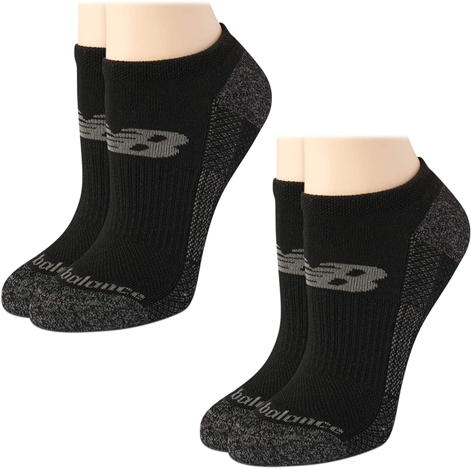 New Balance Women's Cushioned No Show Low Cut Socks with Ice Cooling Technology (2 Pack)