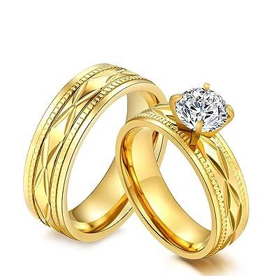 KNSAM - Anillos para ella y él Gold Partner, anillos de acero inoxidable para bodas