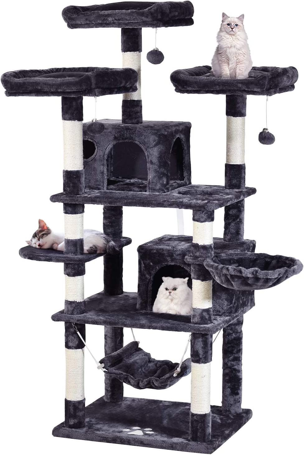 MQ Multi-Level Cat Tree, Activity Cat Tower Furniture with Sisal-Covered Scratching Post 3 Padded Plush Perches Dual Condo & Basket Removable Hammock for Large Small Cat(Gray/Smoky Gray)
