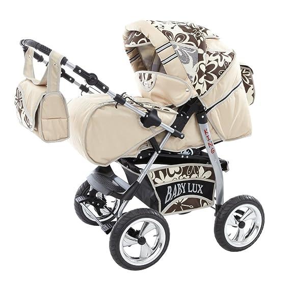 Cochecito para bebé de la marca Lux4Kids. Kit 3 en 1 o 2 en 1, fabricado en la UE marrón Cream & Chocolate Flowerpower Talla:3in1 Set+Isofix;Wollfußsack ...