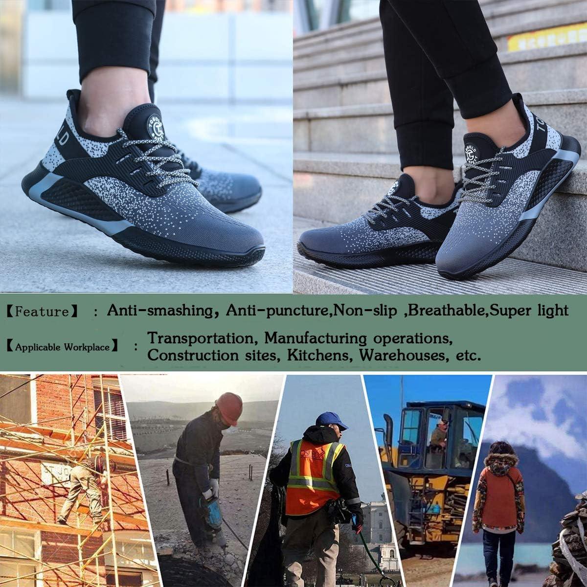TQGOLD Chaussure de Securit/é Homme Femmes S3 Baskets L/ég/ères et Antid/érapantes Chaussures de Travail avec Embout de Protection en Acie