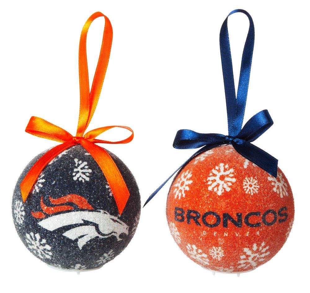 NFL Denver Broncos LED Boxed Ornament Set, Small, Multicolor