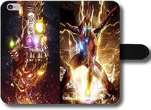 Ironman Avengers EndGame Thanos - Funda de piel sintética con cierre magnético para teléfono móvil, compatible con iPhone 7 Plus/8 Plus (fabricado en Piel sintética.)