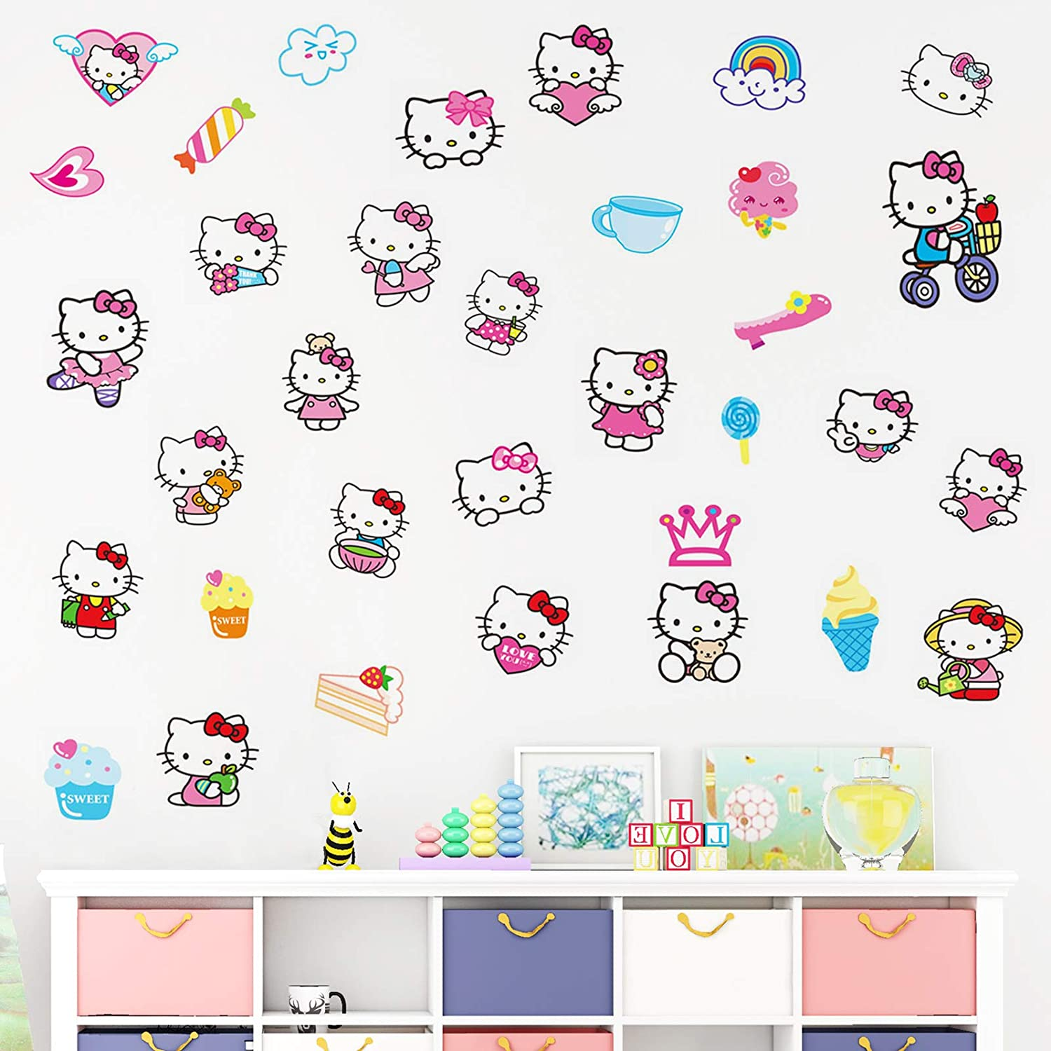Hello Kit_ty Wall Decals Room Kawaii Decor Vinyl Waterproof Gorgeous Stickers for Teens Bedroom 16x24 Inches