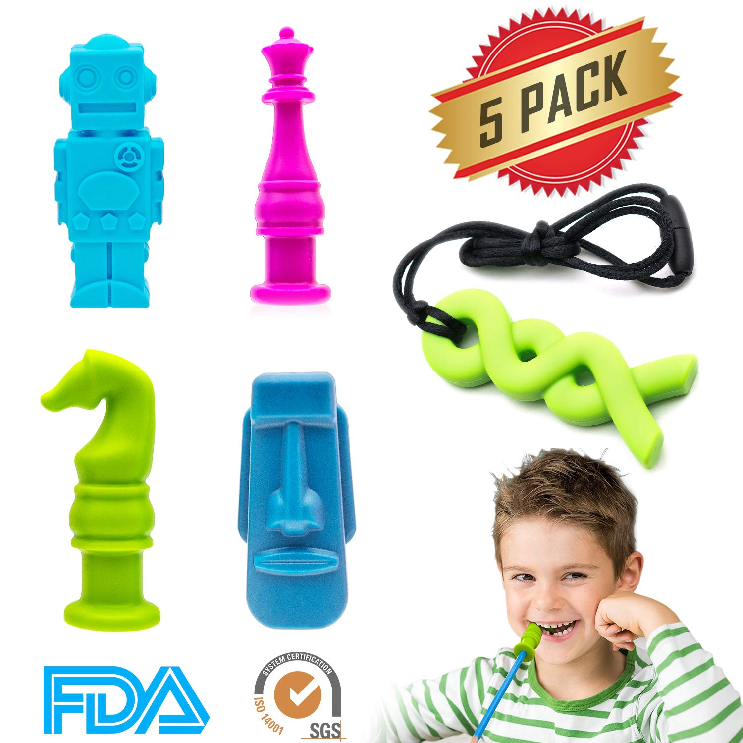 ELifeBox 5 PCS Sensory Chew Necklace/Pencil Topper Set, FDA-approved Silicone Chew Toys for Autism, Biting, Teething, ADHD, SPD, Oral Motor Children, Kids, Boys, and Girls