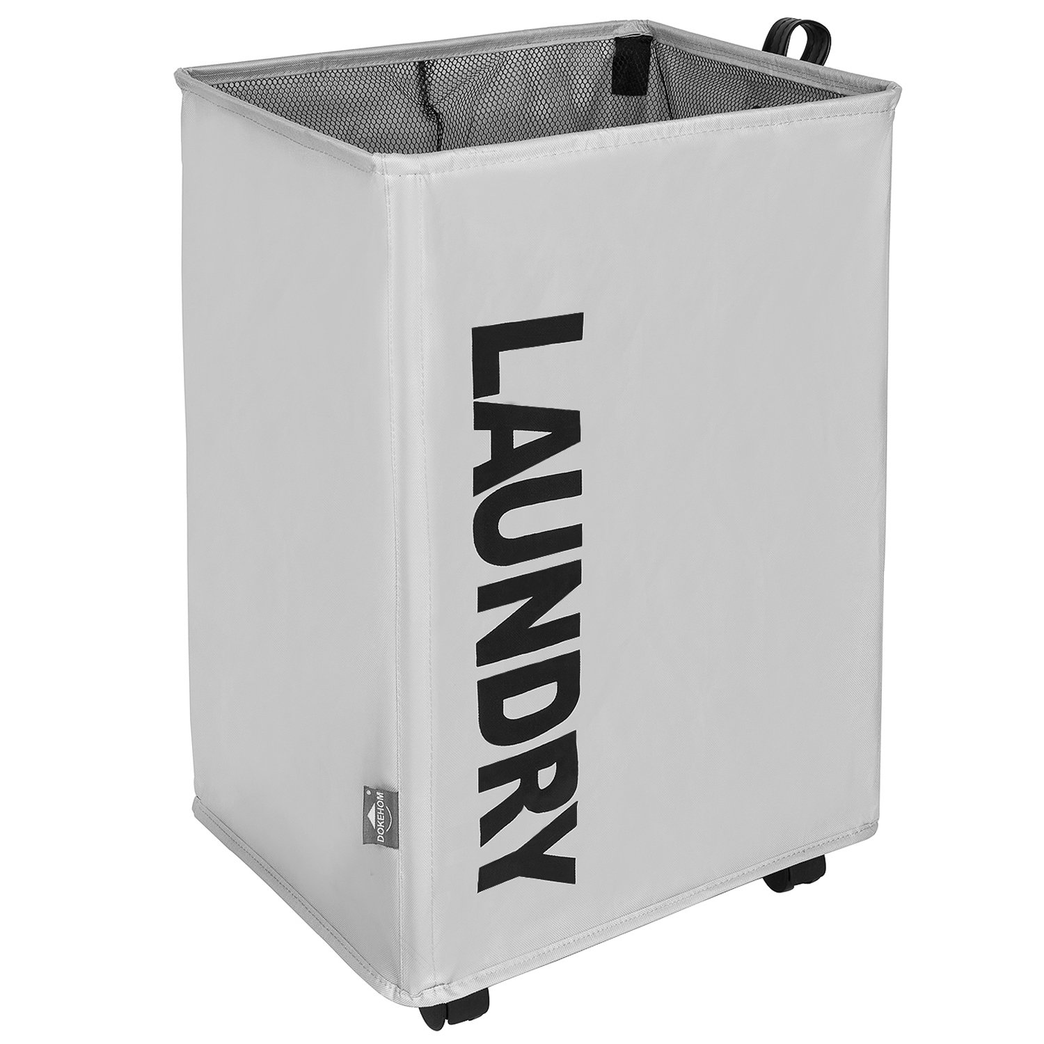 DOKEHOM DKA0210BKL X-Large Laundry Basket with Lather Handle and Wheel (3 Colors, M and L), Collapsible Fabric Laundry Hamper, Foldable Clothes Organizer, Folding Washing Bin (Black, L) IMOTECH TECHNOLOGY