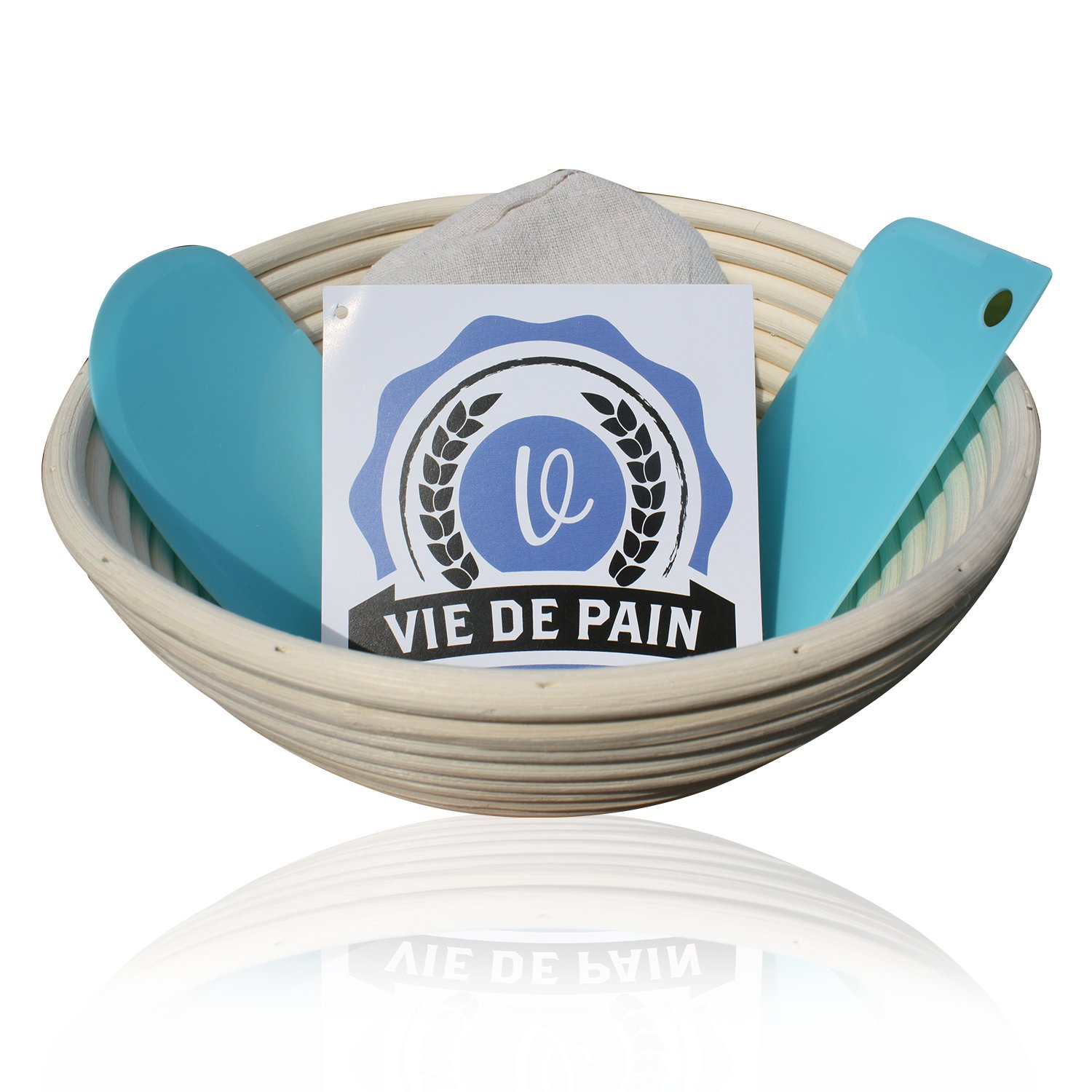 9 inch Round Banneton Bread Proofing Basket Set- Professional Brotform with Linen Liner and 2 Dough Scrapers- Perfect for Rising Sourdough, Boules and Other Artisan Bread Varieties! Vie De Pain