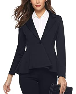 more photos f0af5 138e1 Aibrou Womens Casual Work Office Open Front Blazer Jacket Notch Lapel Sharp