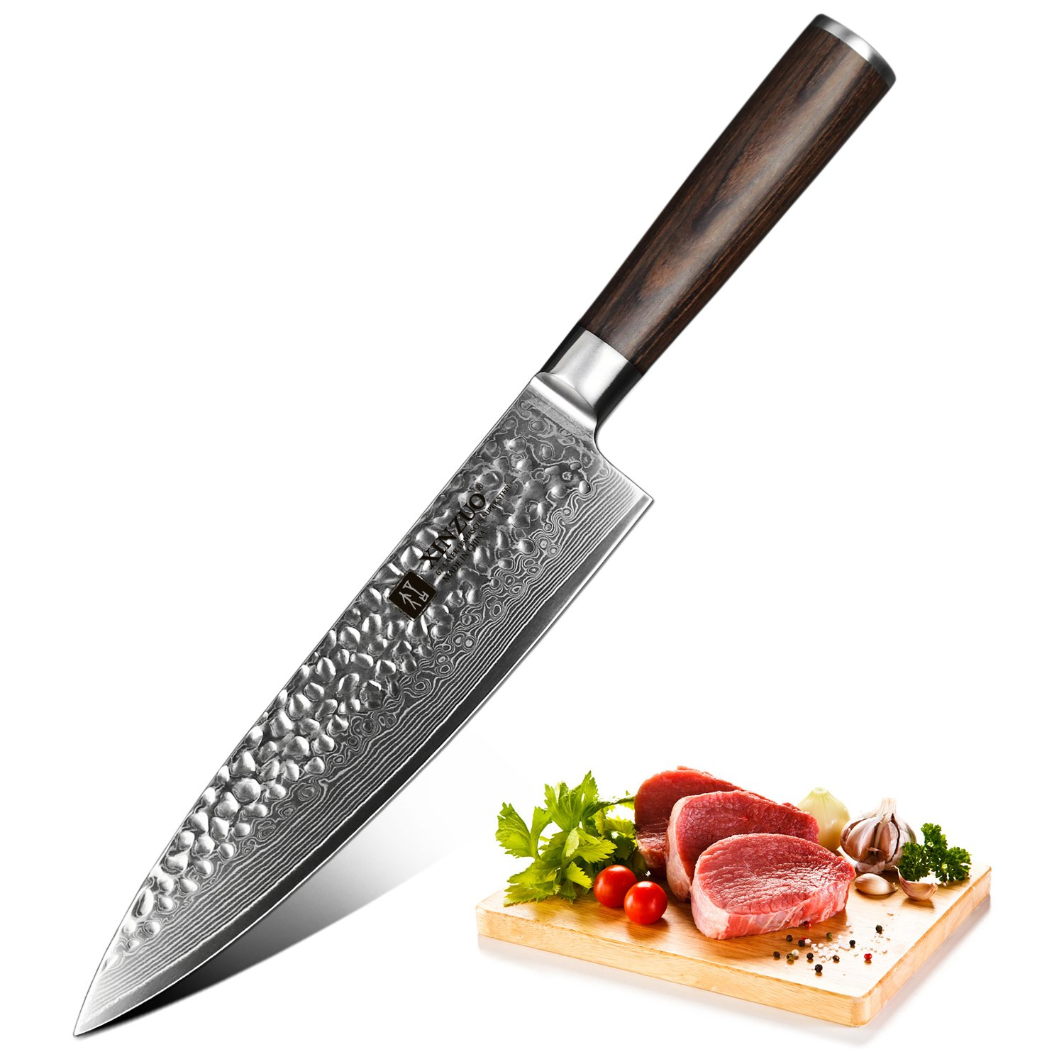 XINZUO Chef Knife 8 Inch 67 Layer Japanese VG10 Damascus Steel Kitchen Knife Hammered Finish High Carbon Japanese VG-10 Steel Professional Chef's Knives Razor Sharp with Pakkawood Handle - He Series