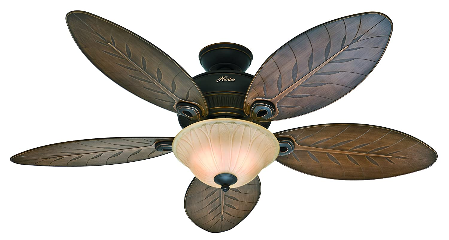 Hunter Grand Cayman 54 In. Onyx Bengal Damp Rated Ceiling Fan with ...