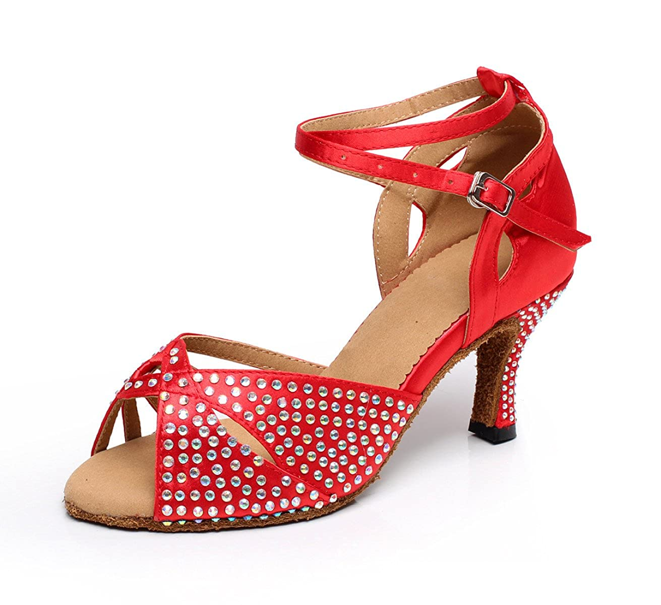JSHOE Cristaux de de Femmes étincelant Satin - Latin Salsa Femmes Chaussures de Danse Tango/Thé/Samba/Moderne/Jazz Chaussures Sandales Talons Hauts,Red-heeled7.5cm-UK2.5/EU32/Our33 - 9d1c8ca - shopssong.space